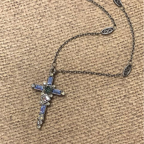 Sorrelli's Blue Pebble Crystal Cross Necklace