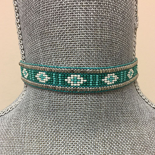 Fully Beaded Tribal Choker Turquoise