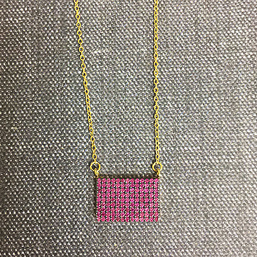 Fuchsia Rectangle Necklace