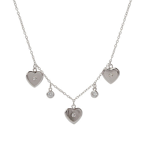Triple Heart and Cubic Zirconia Station Necklace