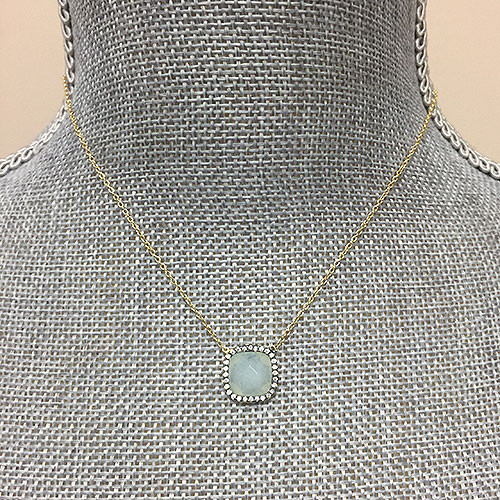Aquamarine Square with Cubic Zirconia Necklace