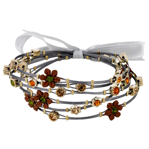 Brown Flower Whisper Bracelets with Olivine and Topaz