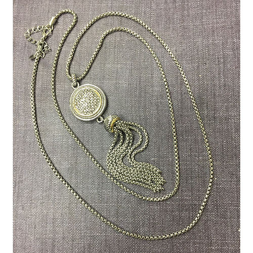 Pave Crystal and Tassel Long Necklace