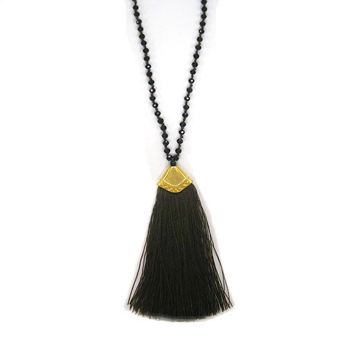Jet Crystals & Brown Fan Tassel Necklace