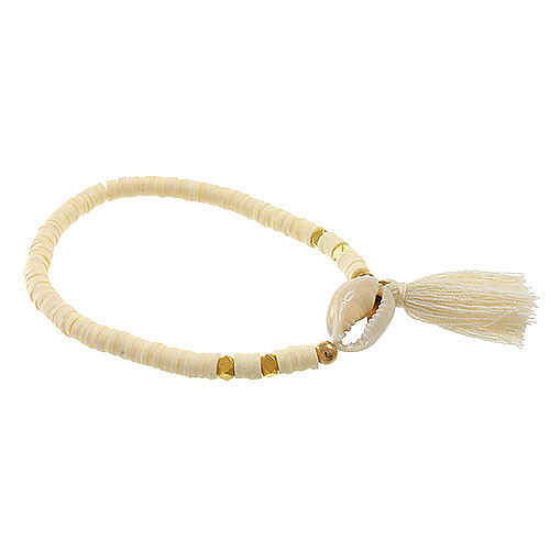 White Shell, Sequin & Tassel Bracelet