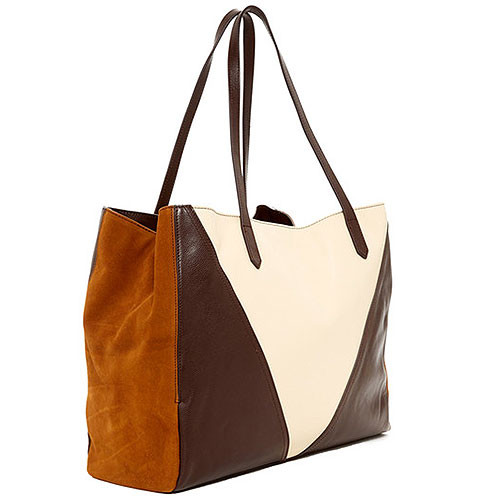 Sondra Roberts Nappa Brown and Bone Shoulder Bag