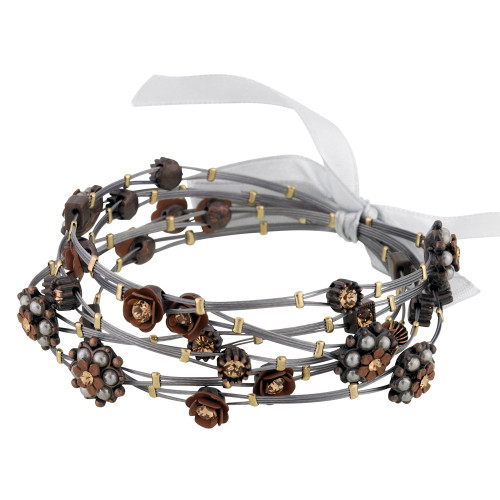 Brown and Vintage Pearl Flower Whisper Bracelets