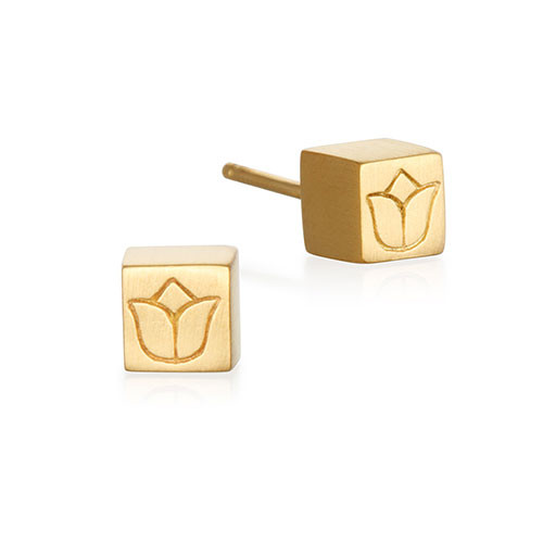 Lotus Flower Cube Earrings