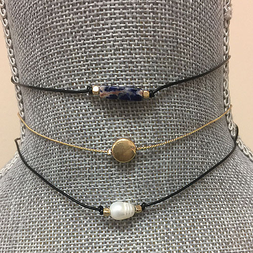 Set of Three Simple Leather Chokers 1