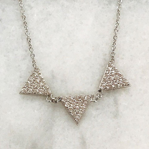 Triple C.Z. Triangle Necklace