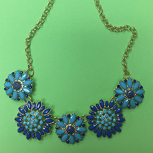 Private Label Turquoise & Blue Flower Necklace
