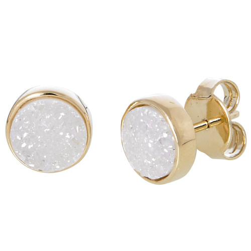 White Druzy Gemstone Round Earrings