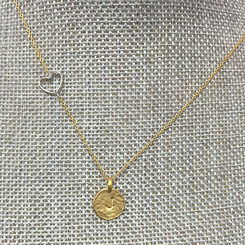 Silver Heart Gold Disc Initial Necklace