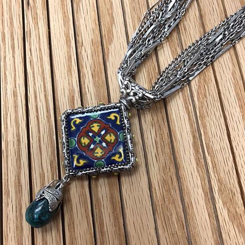 Passionflower Ceramic Tile Necklace 1