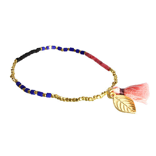 Slim Stretch Leaf & Tassel Bracelet