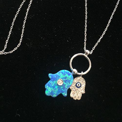 Sterling Silver, Cubic Zirconia, and Blue Opal Hamsa Duo Necklace