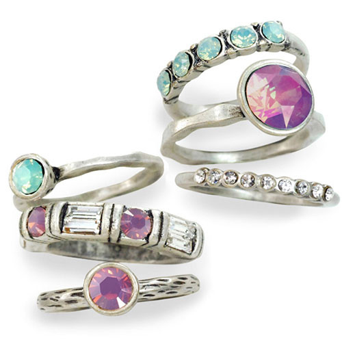 Set of Six Vintage Crystal Rings PK