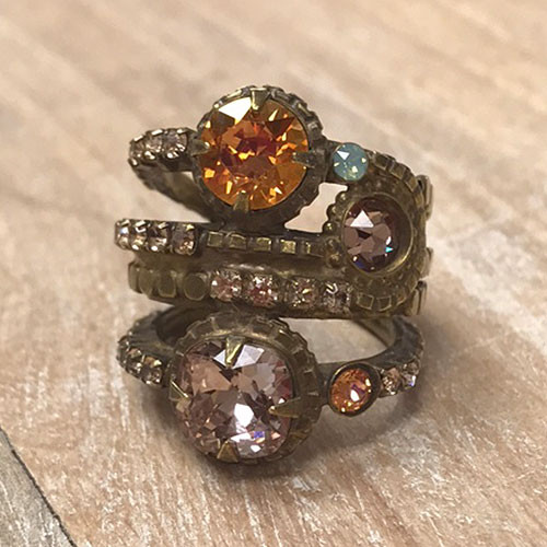 Sorrelli Four Row Crystal Band Ring