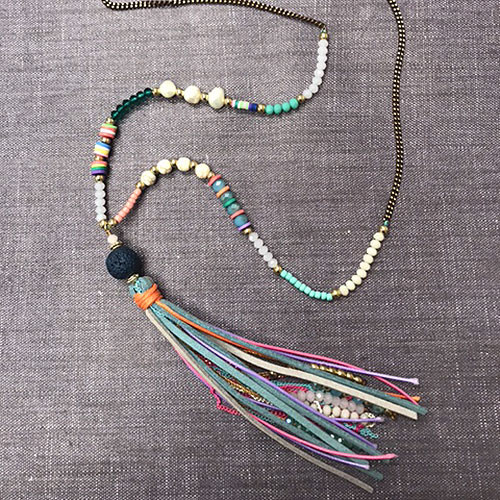 ZOKY'åªs Colorful Beads & Tassel Necklace