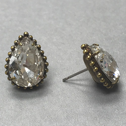 Sorrelli Large Pear Crystal in Ant. Gold