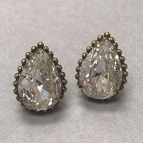Sorrelli's Large Pear Crystal in Ant. Gold