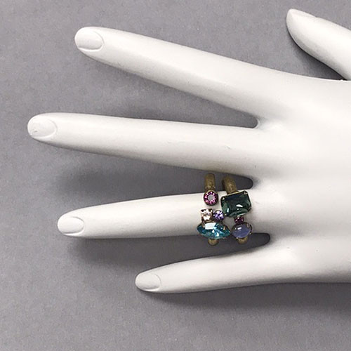 Sorrelli Jewel Tone Double Ring Set