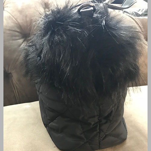 Diamond Quilted Faux Fur Black Tote
