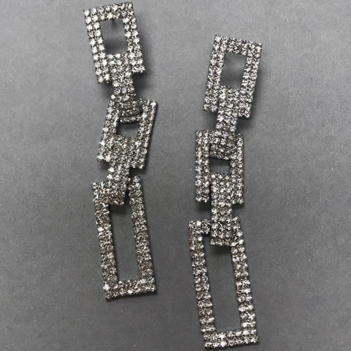 Crystal Square Linked Earrings