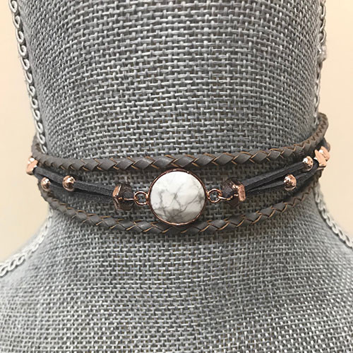 Gray Suede Howlite Choker with Rose Gold Accents