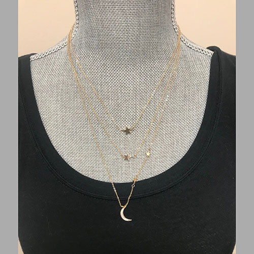 Triple Layered Celestial Chain Necklace