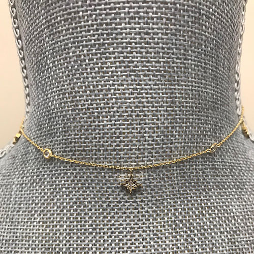 North Star with Bezel Set Cubic Zirconia Choker