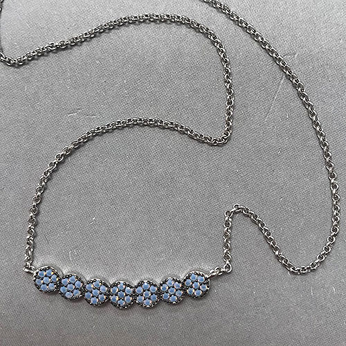 Blue opal Cubic Zirconia Flower Bar Necklace