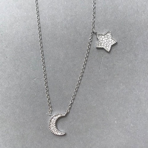 Pave Cubic Zirconia Star Moon Chain Necklace