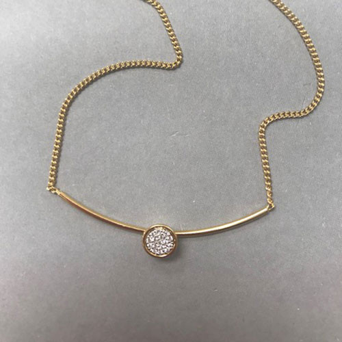 åÊGold Vermeil Bar with Pave Cubic Zirconia Disk Necklace