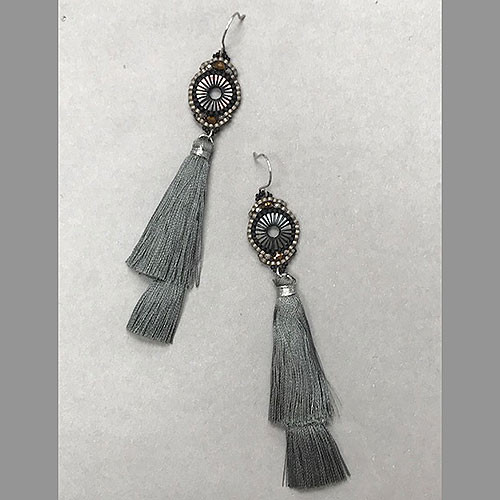 Double Gray Silk Tassel & Crystal Earrings