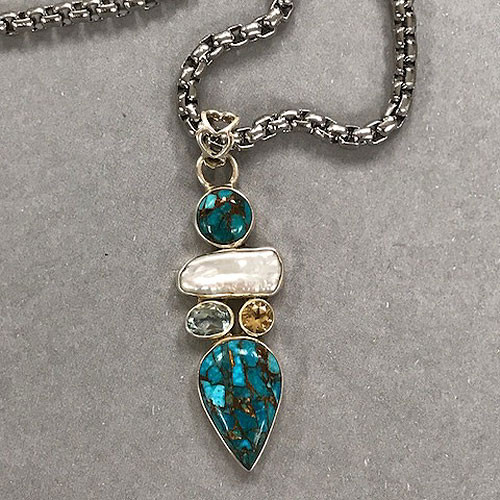 Mohave Turquoise and Pearl Pendant