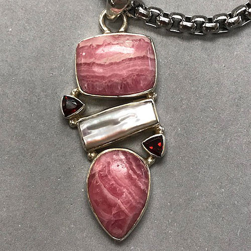 Rhodochrosite and Ruby Crystal Pendant