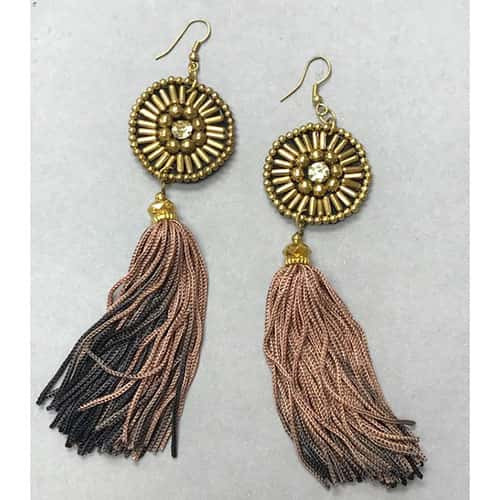 Long Ombre Tassel and Beadwork Earrings