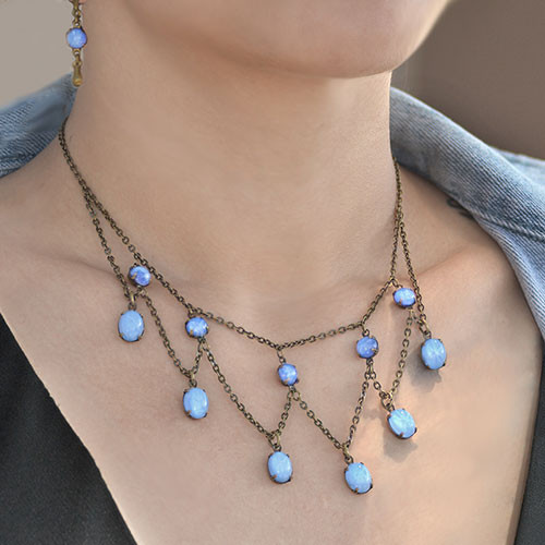 Vintage Glass Necklace and Earring Set