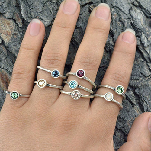 Swarovski Crystal Birthstone Stacking Rings