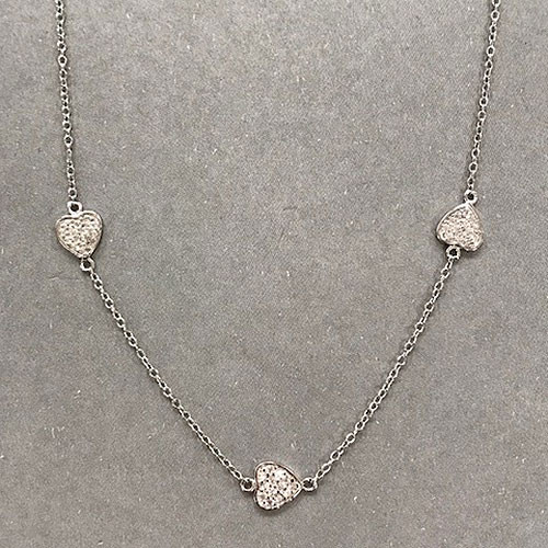 Pave Heart Trio Necklace