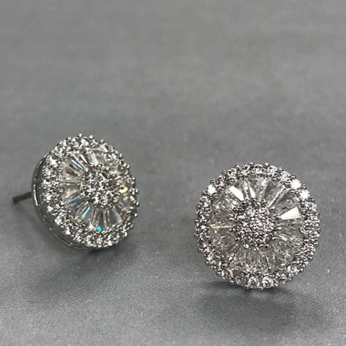 Platinum Plated Cubic Zirconia Layered Stud Earrings