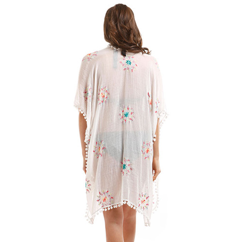 Embroidered Flower & Pom Pom Trim Cover Up