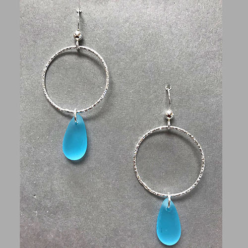 Turquoise Sea Glass Diamond Cut Earrings