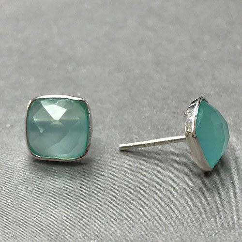 Sterling Silver Aqua Chalcedony Studs