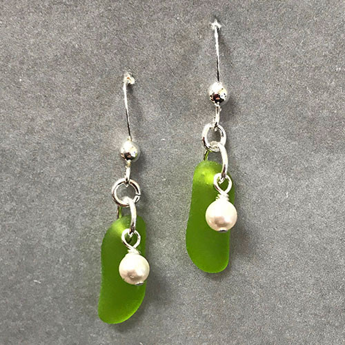 Sea Glass and Pearl Stick Earrings