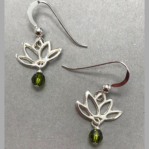 Sterling Silver Lotus and Crystal Earring