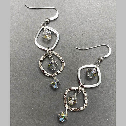Sterling Silver Hammered Crystal Hoop Earrings