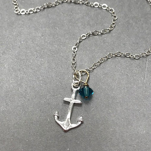 Sterling Silver Anchor and Crystal Charm Necklace