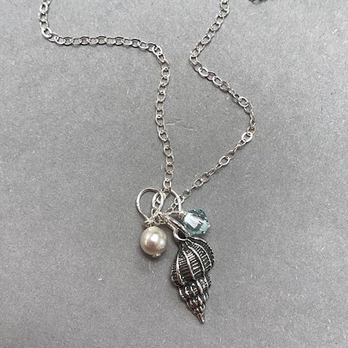 Sterling Silver Triple Charm Sea Shell Necklace